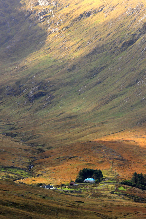 Cottage At The Foothill Of The Colorful Connemara Mountains Ireland  Photograph