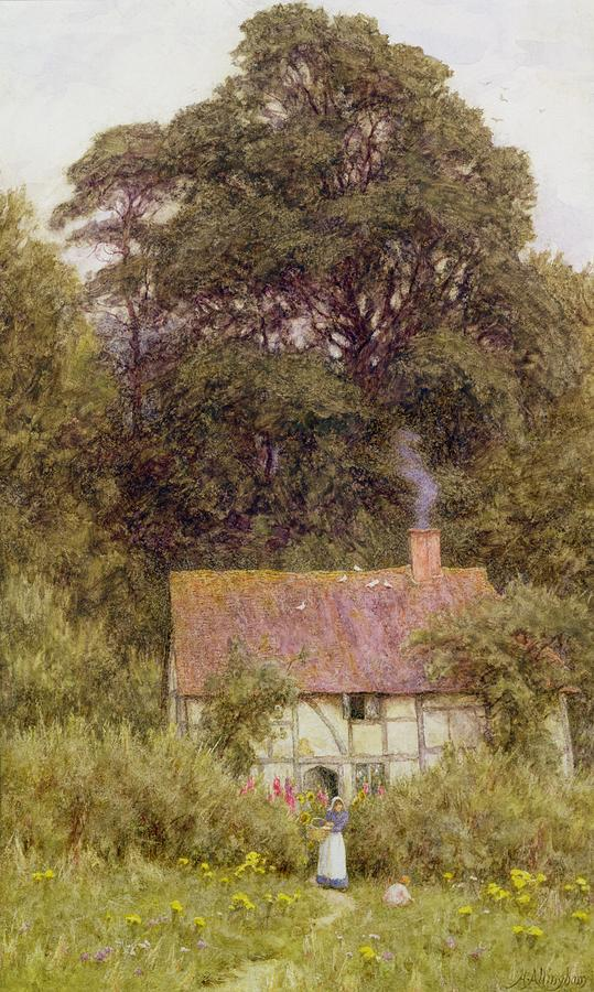 Cottage Near Brook Painting