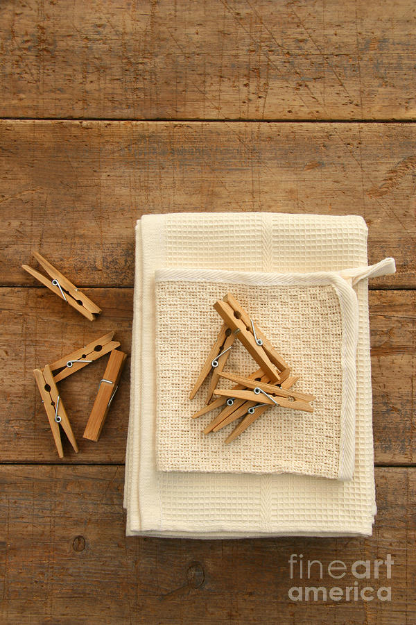 Cotton Dish Towel With Clothes Pins Photograph  - Cotton Dish Towel With Clothes Pins Fine Art Print