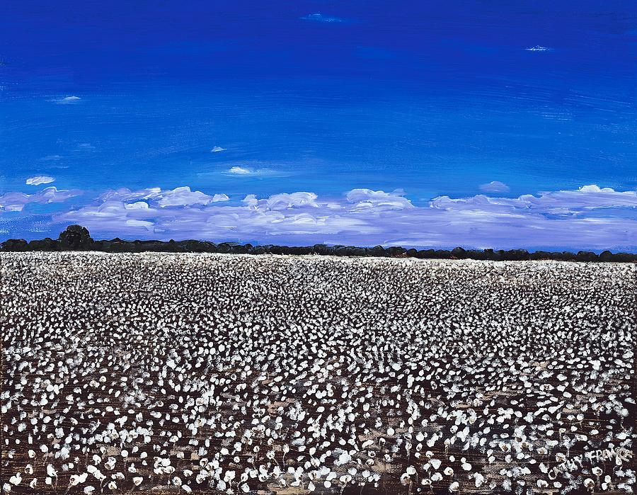Cottonfields In Eastern Arkansas Painting  - Cottonfields In Eastern Arkansas Fine Art Print