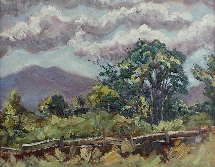 Cottonwoods At The Ranch Painting