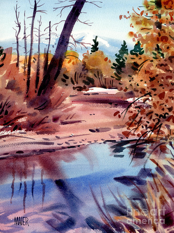 Cottonwoods In October Painting