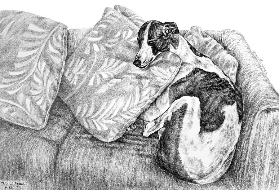 Couch Potato Greyhound Dog Print Drawing
