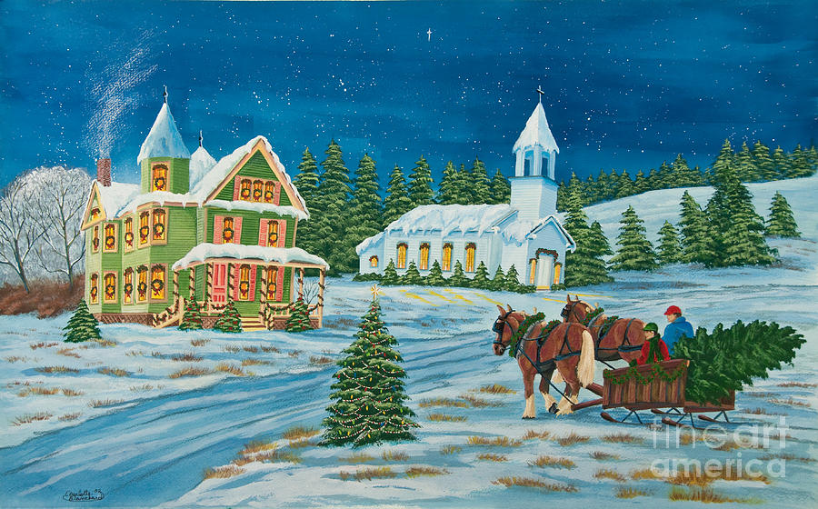 Country Christmas Painting  - Country Christmas Fine Art Print