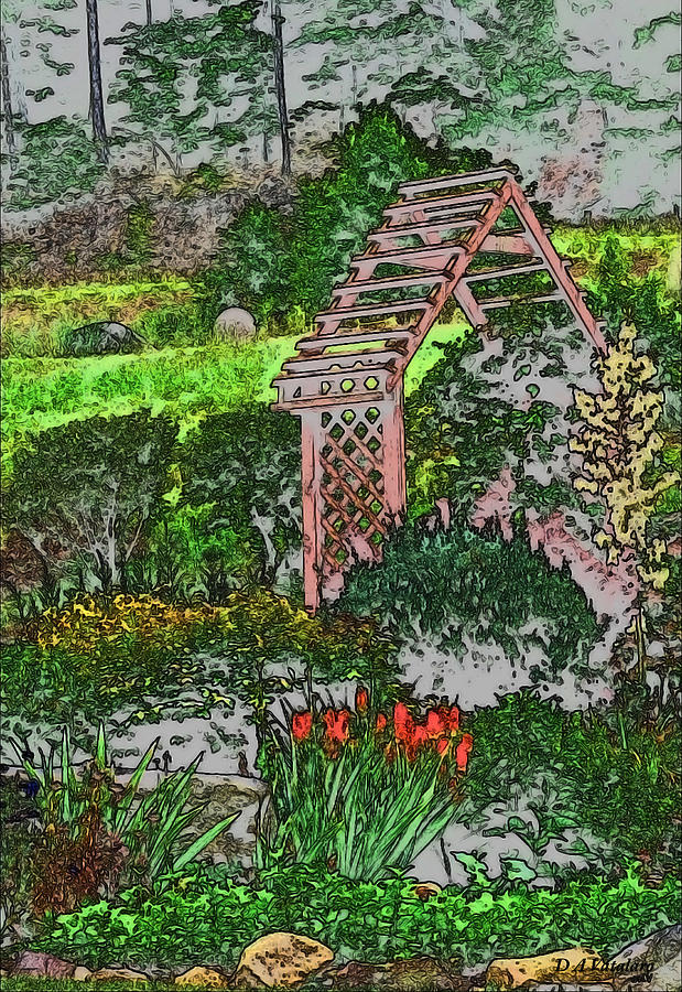 Country Gardens Drawing  - Country Gardens Fine Art Print