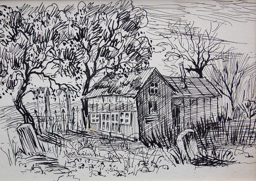 Country Shack Drawing  - Country Shack Fine Art Print