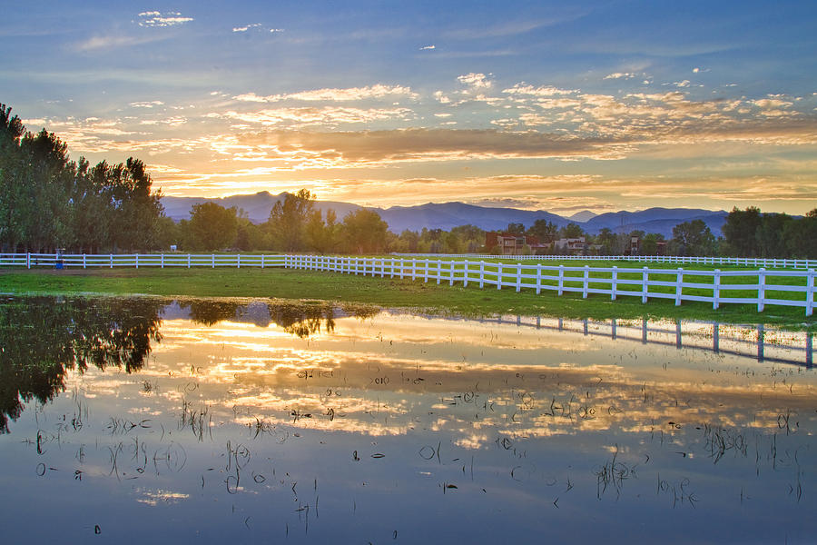 Country Sunset Reflection Photograph