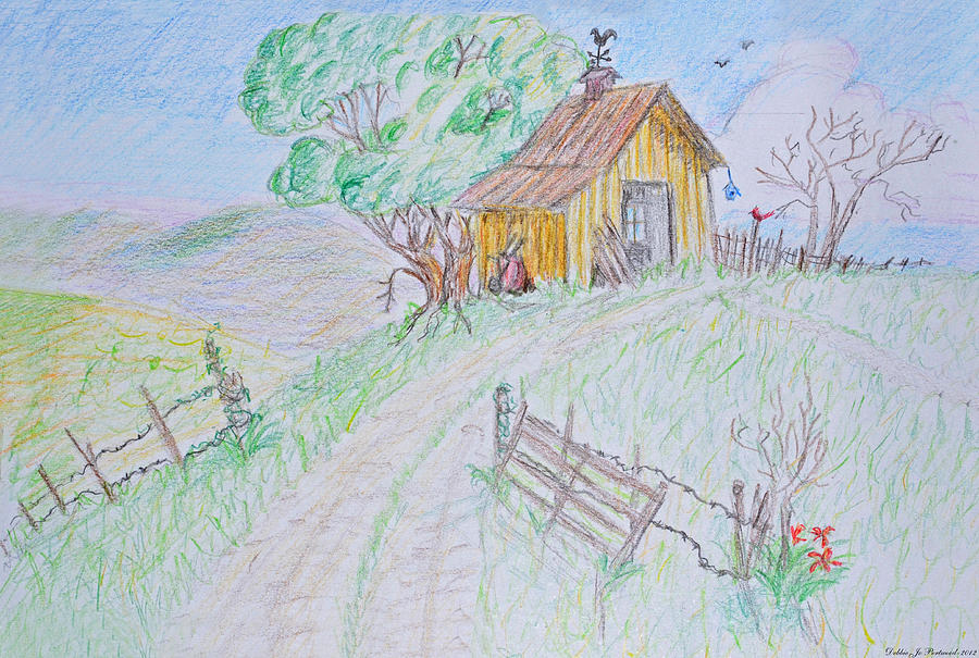 Country Woodshed Drawing  - Country Woodshed Fine Art Print