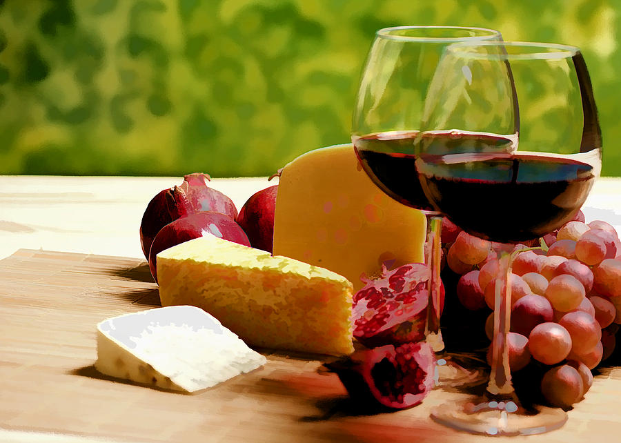 Countryside Wine  Cheese And Fruit Painting  - Countryside Wine  Cheese And Fruit Fine Art Print