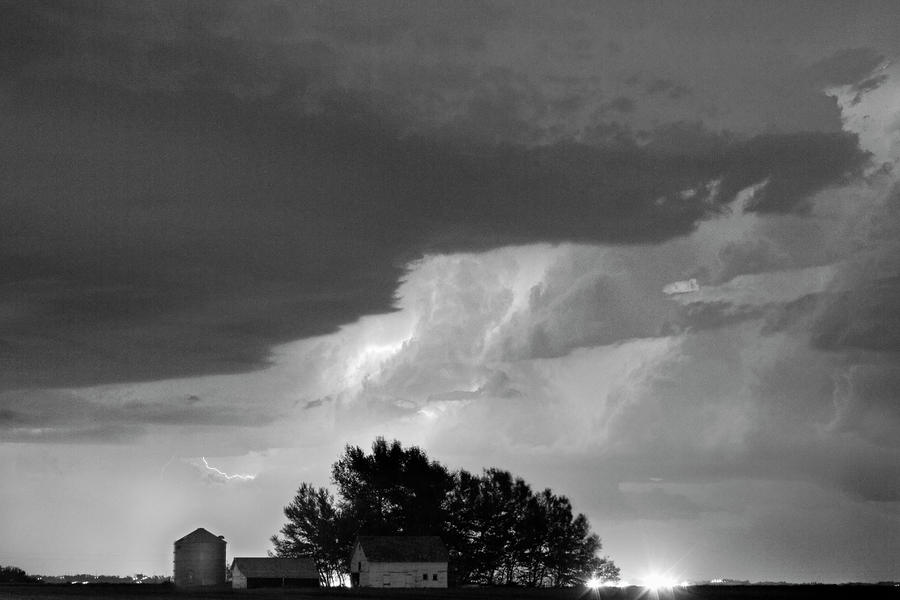 County Line Northern Colorado Lightning Storm Bw Photograph