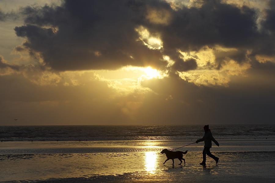 County Meath, Ireland Girl Walking Dog Photograph