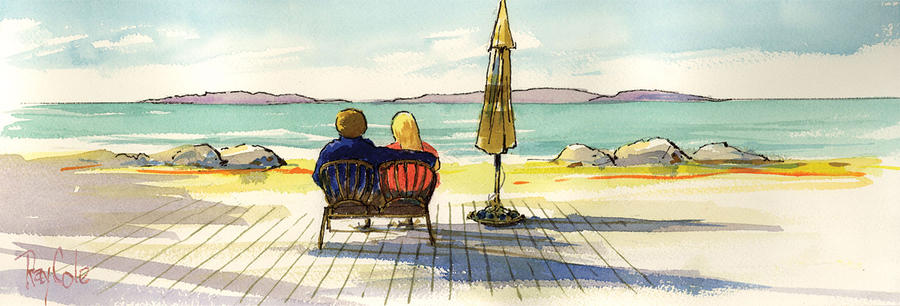 Couple At The Beach Painting  - Couple At The Beach Fine Art Print