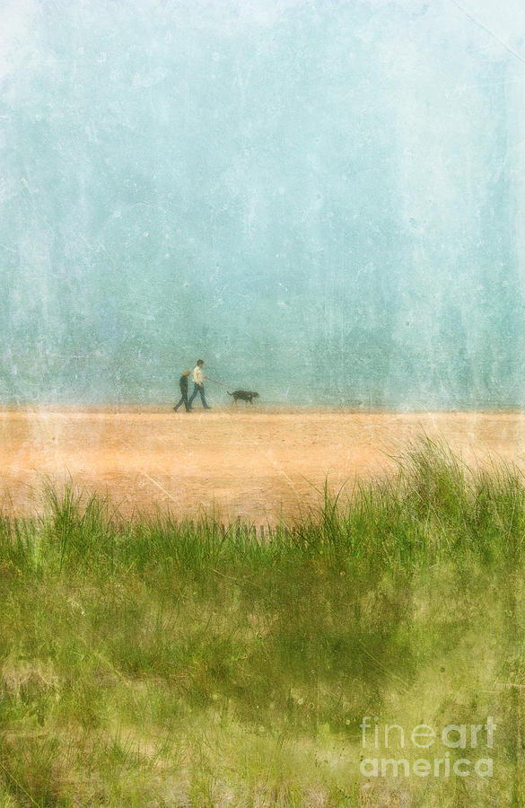 Couple Photograph - Couple On Beach With Dog by Jill Battaglia