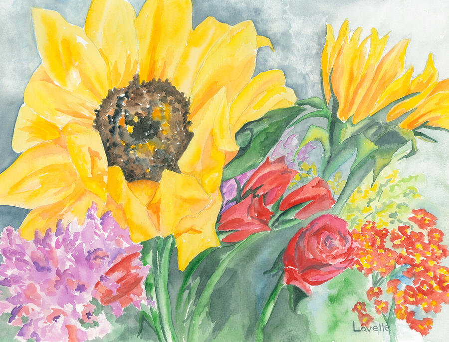 Courtneys Sunflower Painting  - Courtneys Sunflower Fine Art Print