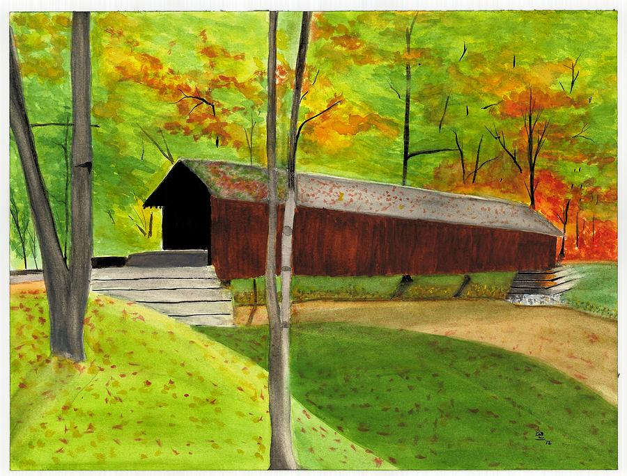 Covered Bridge 1 Painting  - Covered Bridge 1 Fine Art Print