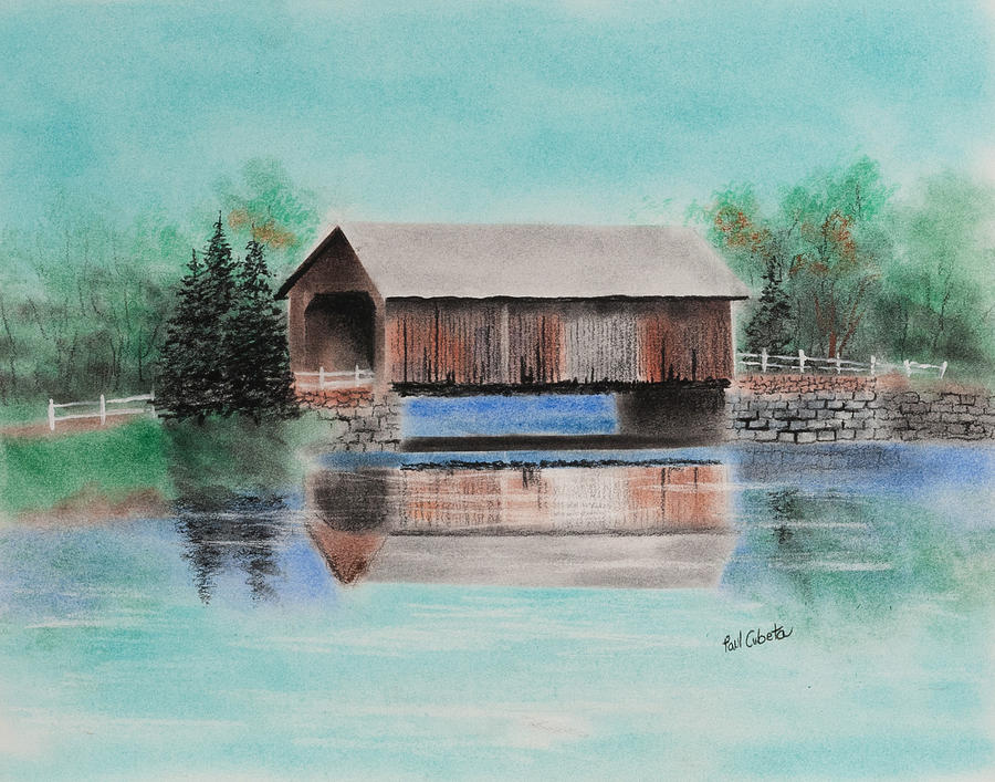 Covered Bridge Allegheny County Pastel  - Covered Bridge Allegheny County Fine Art Print