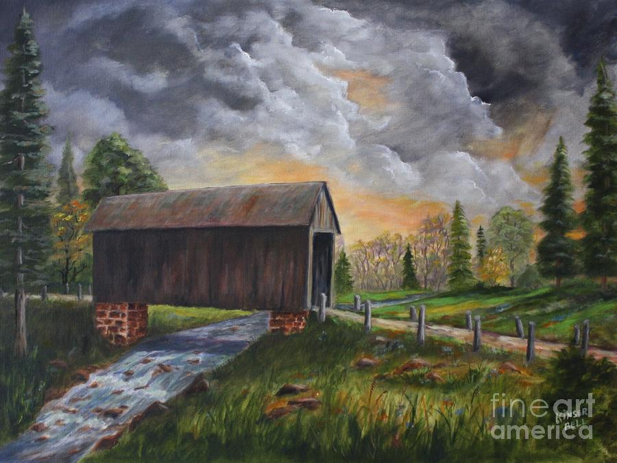 Covered Bridge At Sunset Painting