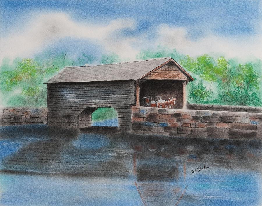 Covered Bridge Bucks County Pastel