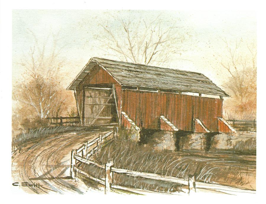 Covered Bridge Painting  - Covered Bridge Fine Art Print
