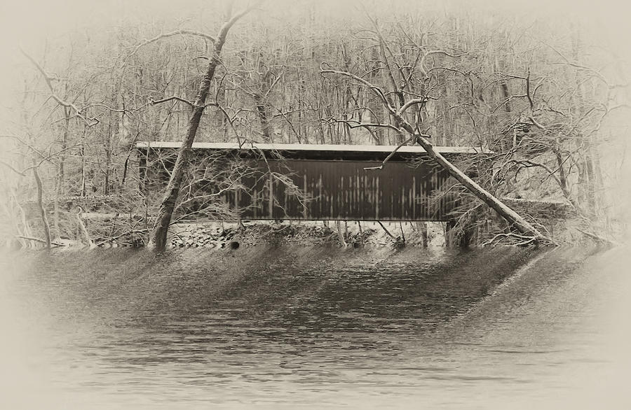 Covered Bridge In Black And White Photograph  - Covered Bridge In Black And White Fine Art Print