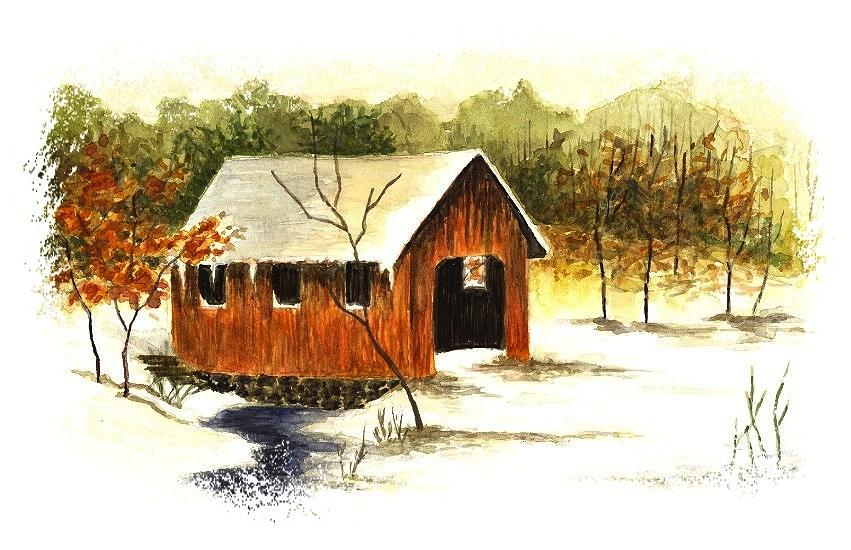 Covered Bridge In The Snow Painting  - Covered Bridge In The Snow Fine Art Print