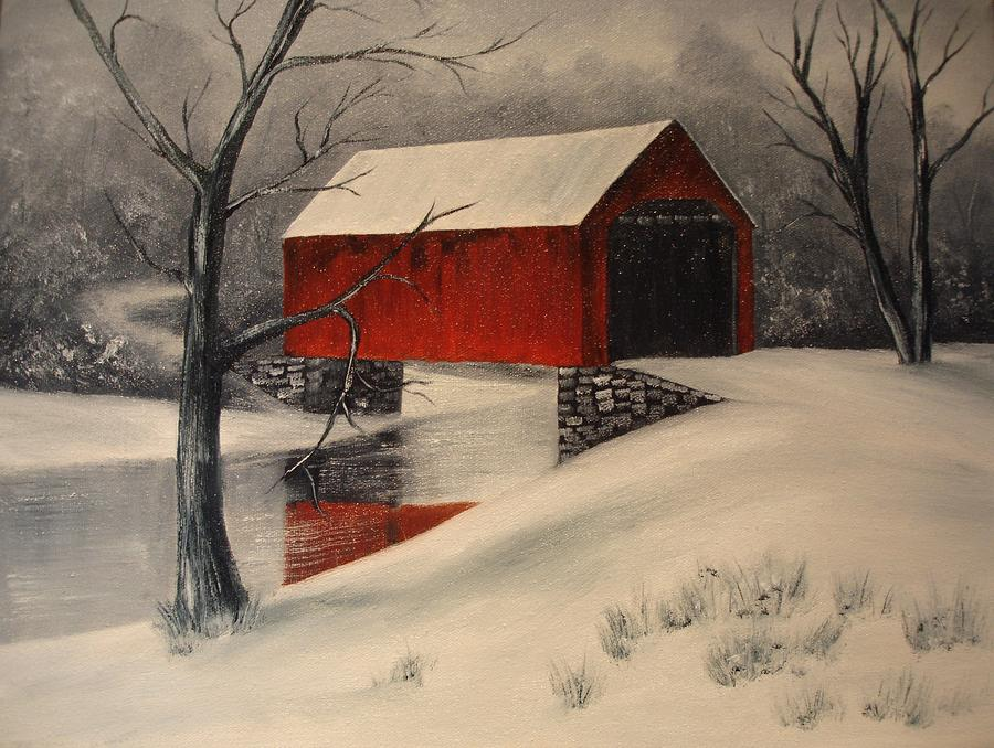 Covered Bridge In The Snow Painting