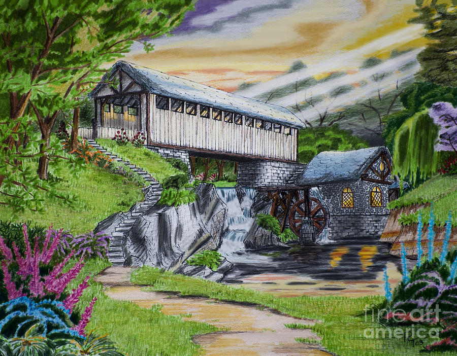 Covered Bridge Drawing  - Covered Bridge Fine Art Print