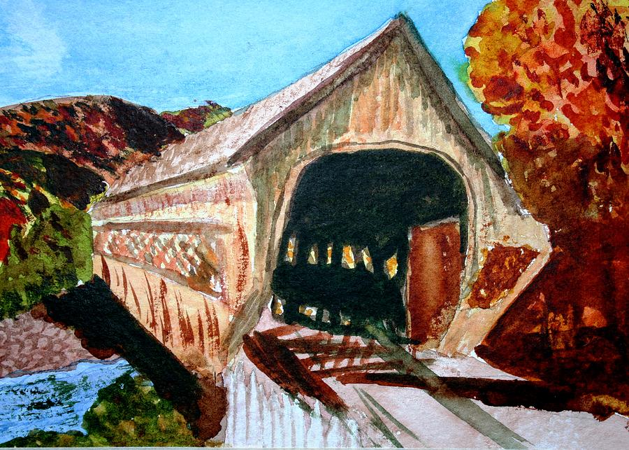 Covered Bridge Woodstock Vt Painting  - Covered Bridge Woodstock Vt Fine Art Print