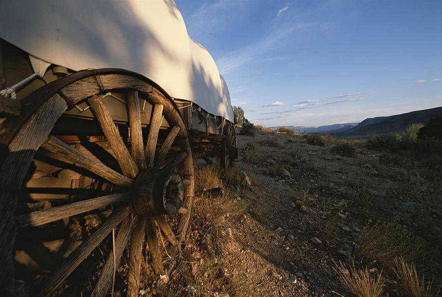 Covered Wagon At Bar 10 Ranch Photograph