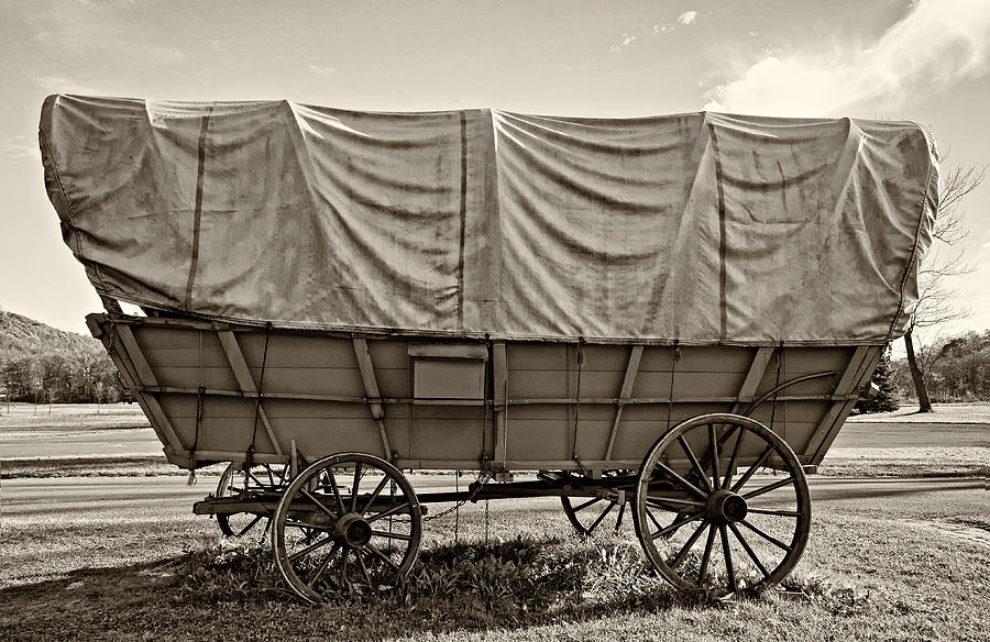 Covered Wagon Sepia Photograph
