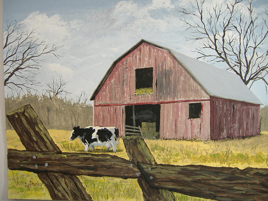 Cow And Barn Painting  - Cow And Barn Fine Art Print