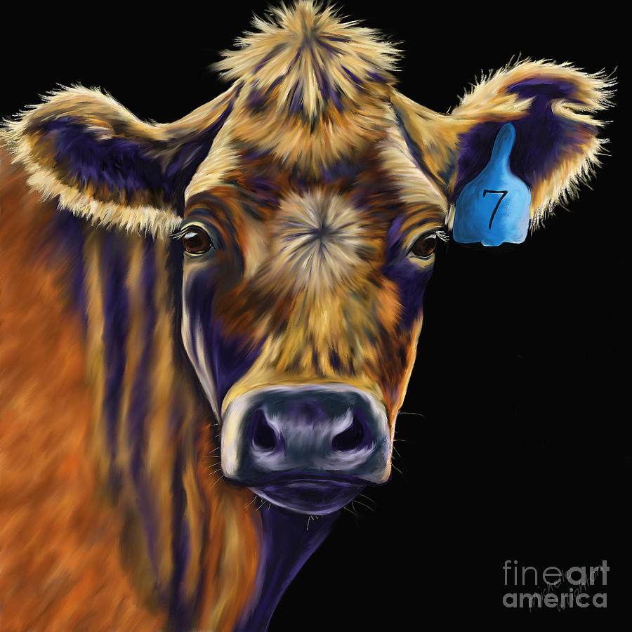 Cow art lucky number seven by michelle wrighton for Cow painting print