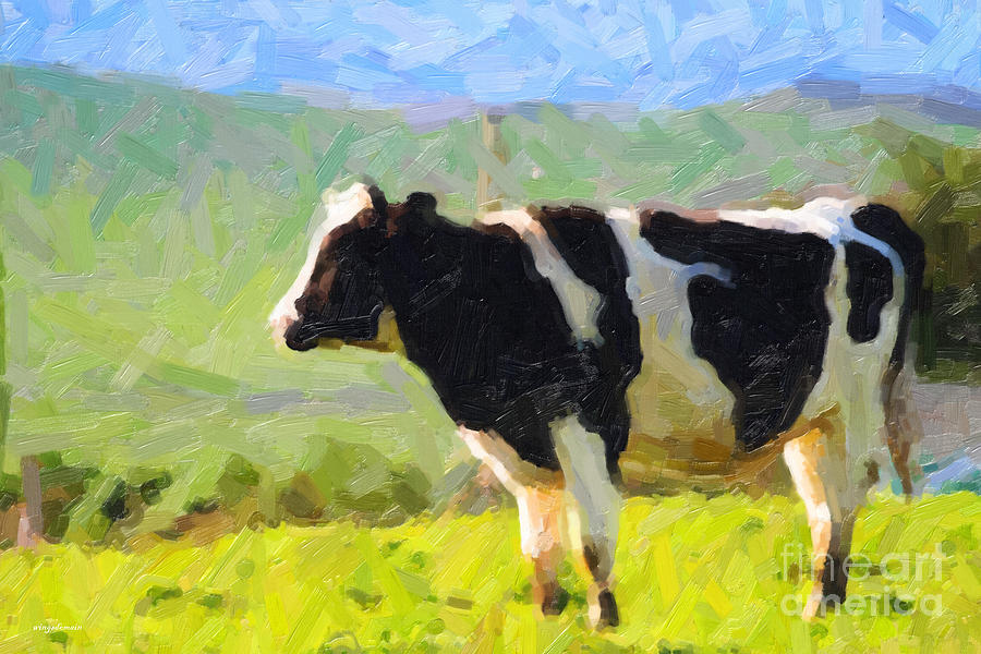 Cow On A Hill Photograph  - Cow On A Hill Fine Art Print