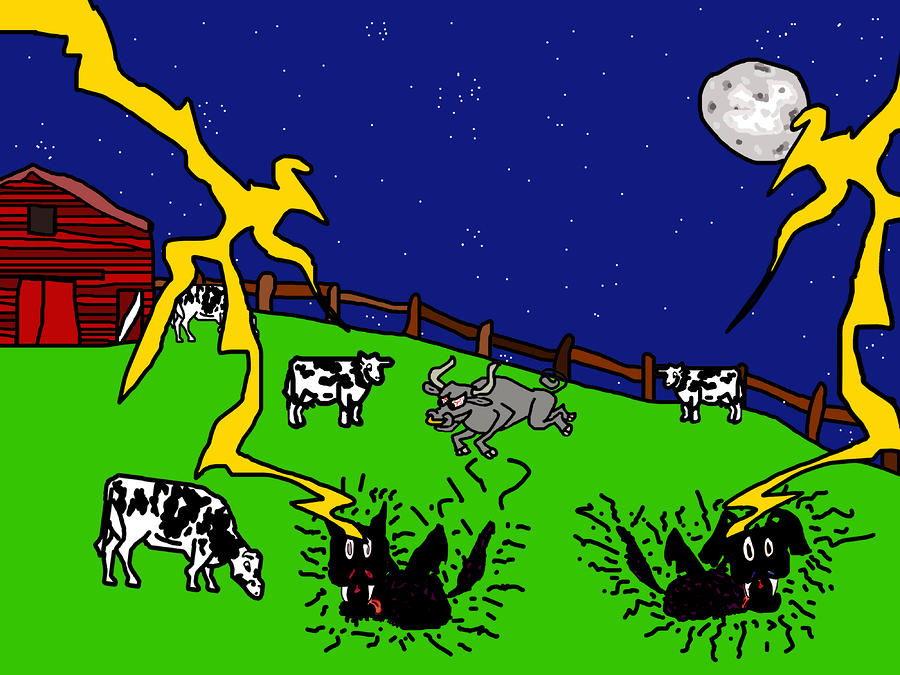 Cow Tipping Digital Art