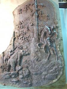 Cowboy  Bears  Walnut Sculpture