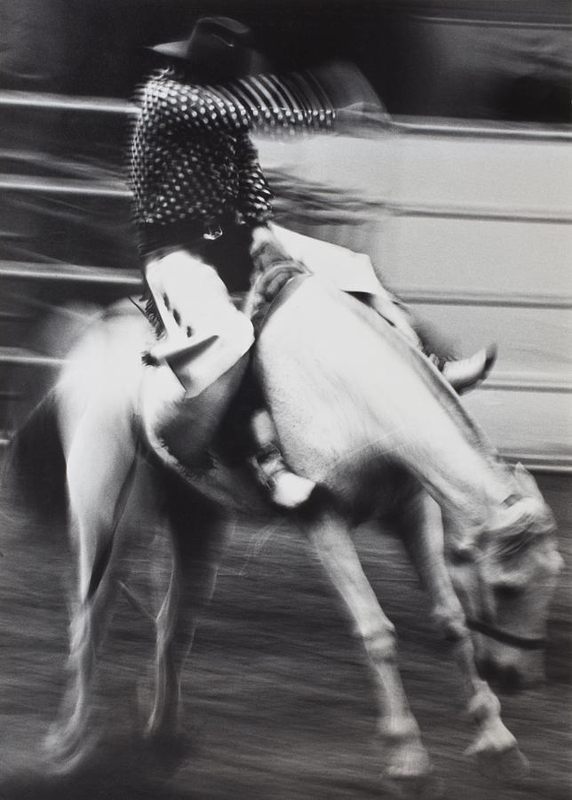 Cowboy Riding Bucking Horse  Photograph