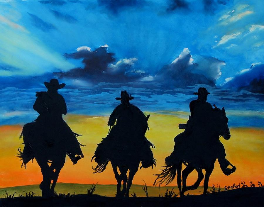 Cowboy  Sunset Painting  - Cowboy  Sunset Fine Art Print