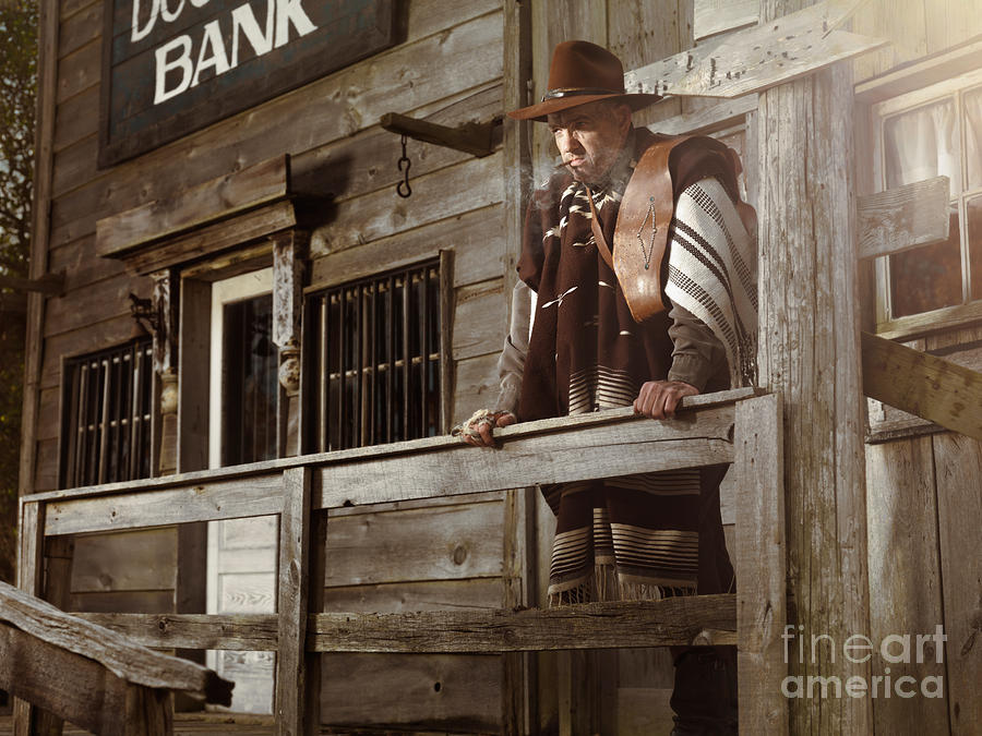 Cowboy Waiting Outside Of A Bank Building Photograph