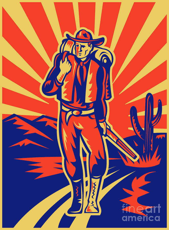 Cowboy With Backpack And Rifle Walking Digital Art