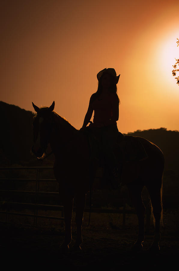 Cowgirl Sunset Silhouette Photograph  - Cowgirl Sunset Silhouette Fine Art Print