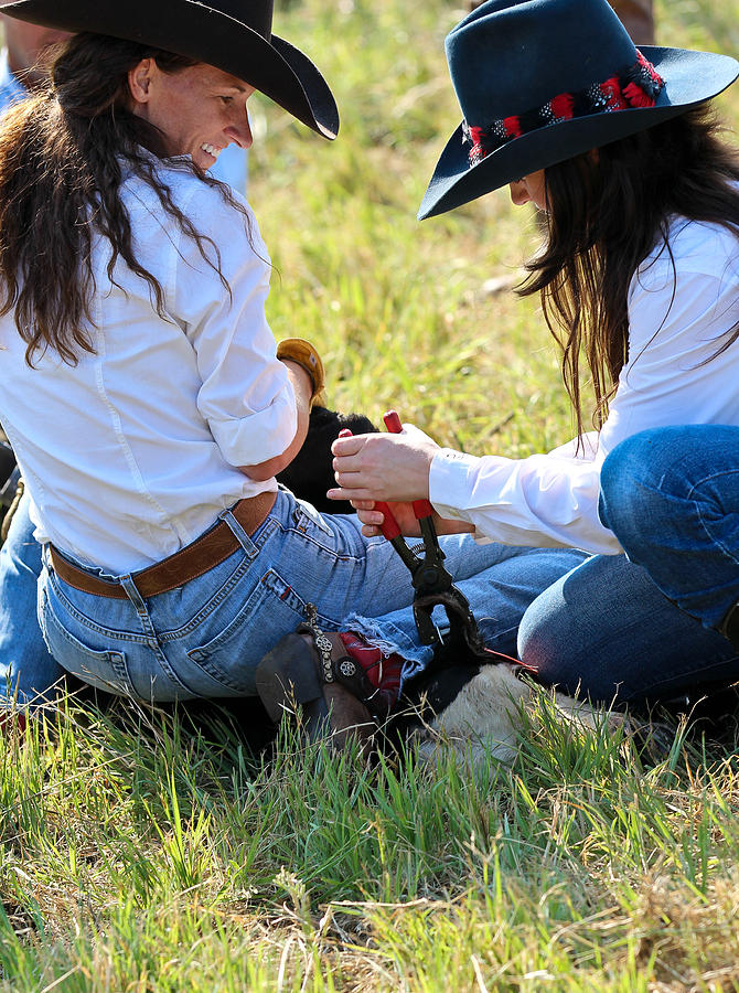 Cowgirls At Work Photograph