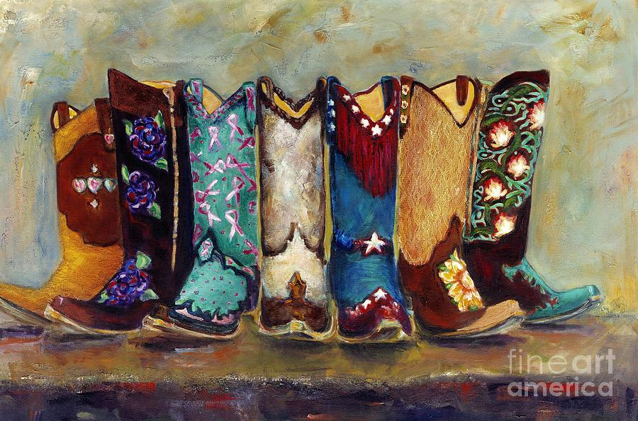 Cowgirls Kickin The Blues Painting  - Cowgirls Kickin The Blues Fine Art Print