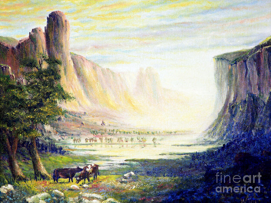 Cows In The Mountain Painting  - Cows In The Mountain Fine Art Print