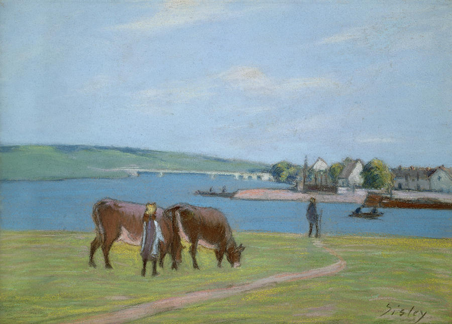 Cows On The Banks Of The Seine At Saint Mammes Pastel  - Cows On The Banks Of The Seine At Saint Mammes Fine Art Print