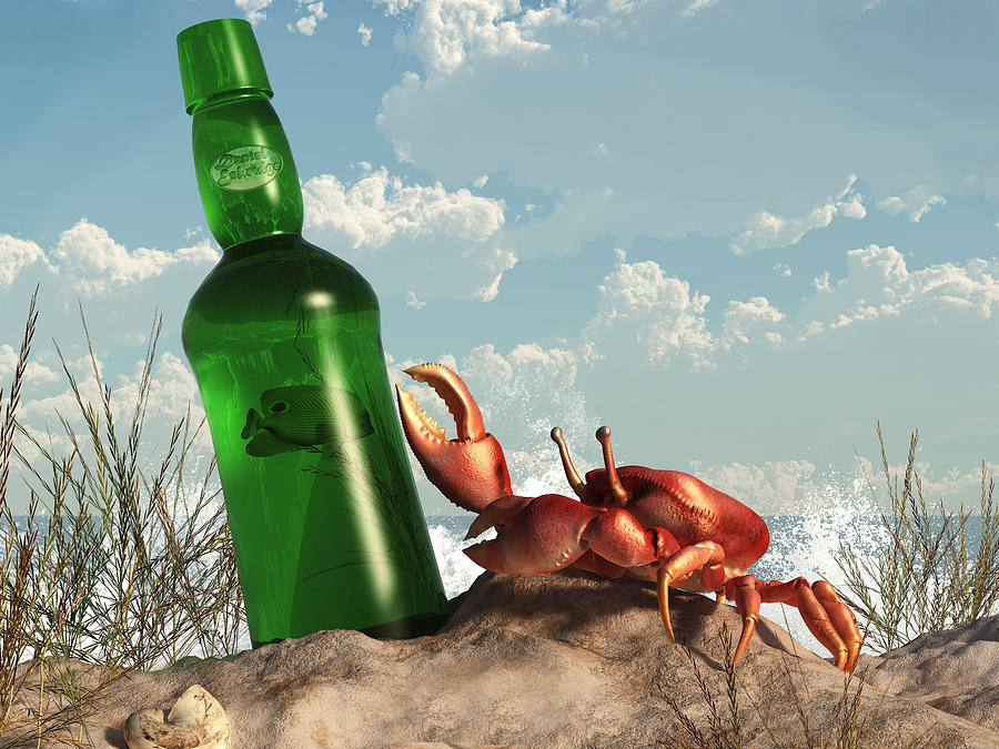 Crab With Bottle On The Beach Digital Art  - Crab With Bottle On The Beach Fine Art Print