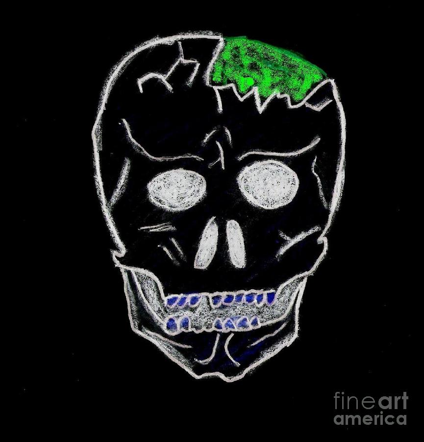 Cracked Skull Black Background Drawing  - Cracked Skull Black Background Fine Art Print