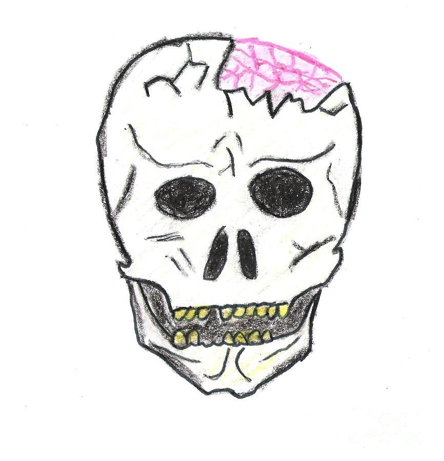 Cracked Skull Drawing