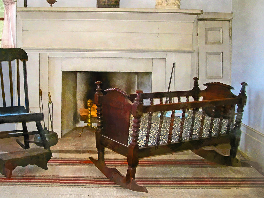 Cradle Near Fireplace Photograph