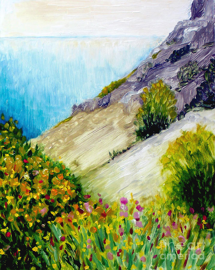 Crags And Wildflowers Of Monaco Painting