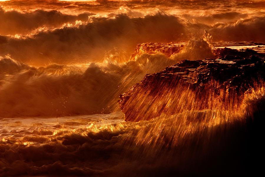 Waves Photograph - Crashing by Matt  Trimble